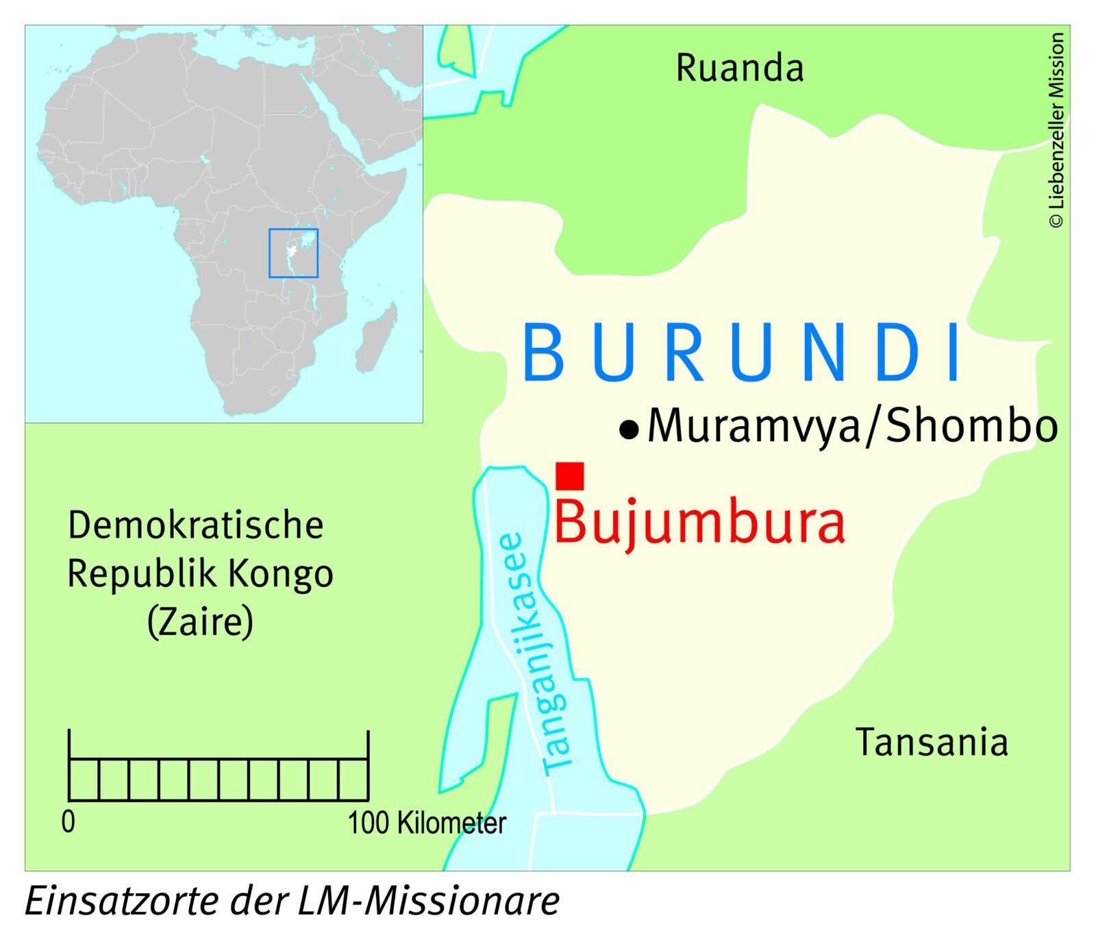 Einsatzorte der LM-Missionare in Burundi
