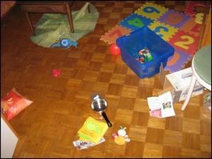 Unser Wohnzimmer nachdem Johanna gewütet hat …